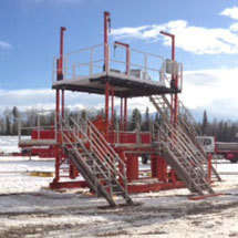 Wellhead service platforms available from RIDE Inc provide a safe workspace for maintenance crews